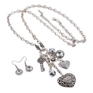 Crystal heart charm silver colour long necklace jewellery set