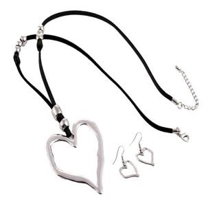 Lagenlook silver colour large heart pendant necklace and earrings