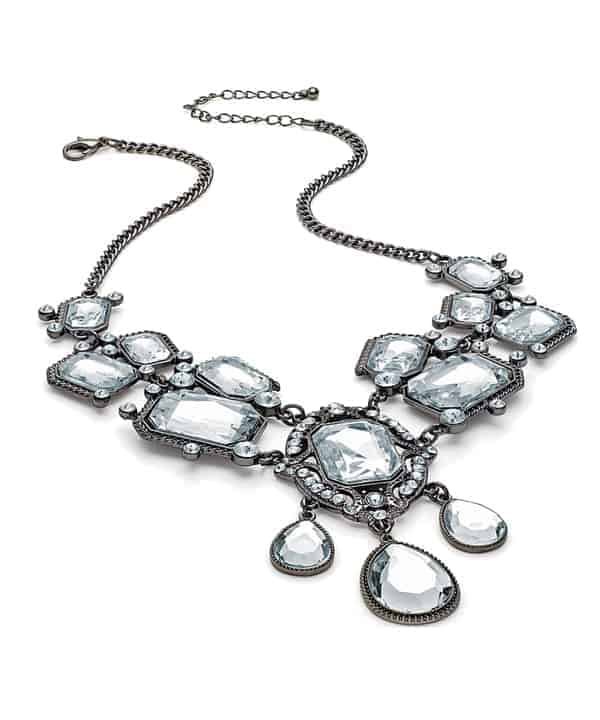 Vintage style hematite plated costume crystal bead stone statement fashion jewellery necklace