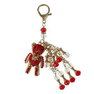 Red diamante 3D bear gold long crystal dangling chain handbag charm key ring accessory fashion jewellery