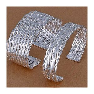 Two silver plated flat braided woven cuff bangle