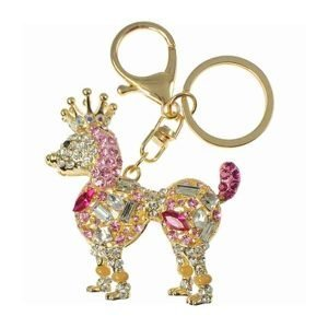 Large poodle dog crown crystal gold plated handbag charm keyring accessory costume jewellery