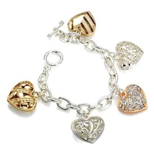 Three tone silver, gold and red gold crystal heart shape charm bracelet