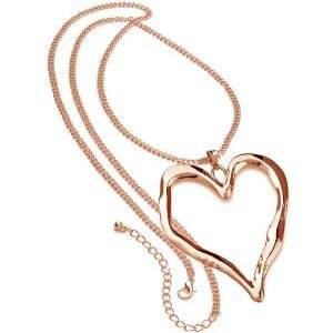 Lagenlook rose gold long chain very large heart pendant fashion jewellery necklace