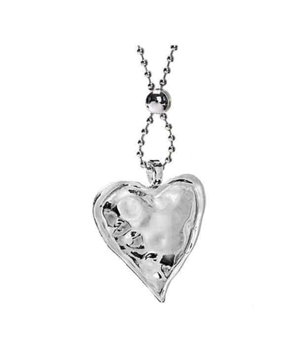Unusual hollow chunky heart pendant long necklace