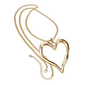 Lagenlook gold colour large love heart pendant long necklace