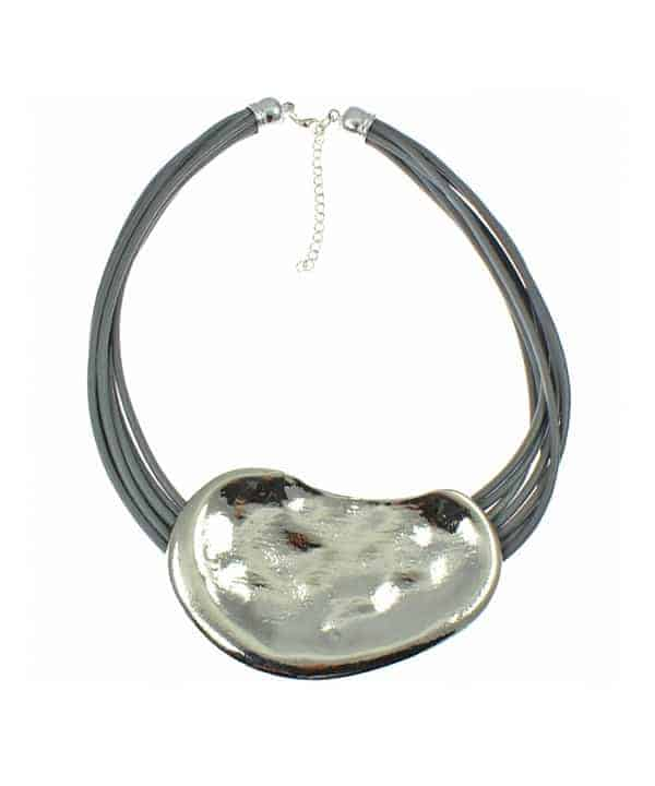 silver chunky hammered chunky pendant grey cord leather choker necklace