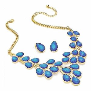 Dazzling gold plated blue glitter imitation stone statement necklace and matching earrings set