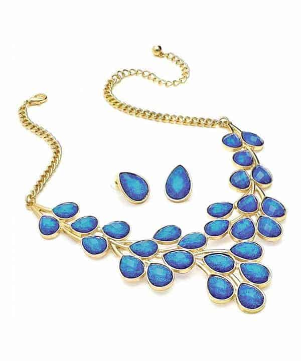 Dazzling blue glitter stone statement necklace and matching earrings set