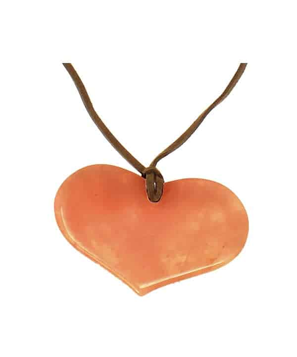 Semi-precious orange colour agate stone chunky large heart pendant on a lagenlook suede long necklace