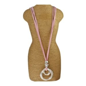Chunky silver crystal bead loop ring pendant pink suede strand fashion jewellery long necklace