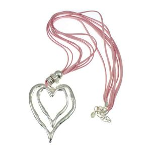 Chunky silver heart pendant & cubic zirconia pink suede leather necklace