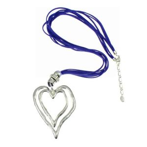 Chunky silver heart pendant & cubic zirconia blue suede leather necklace
