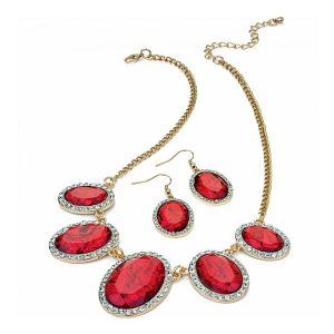 Crystal and red marble stone gold plated fashion jewellery necklace and earrings set