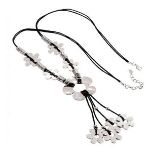 Lagenlook quirky flower silver tone style black cord long necklace