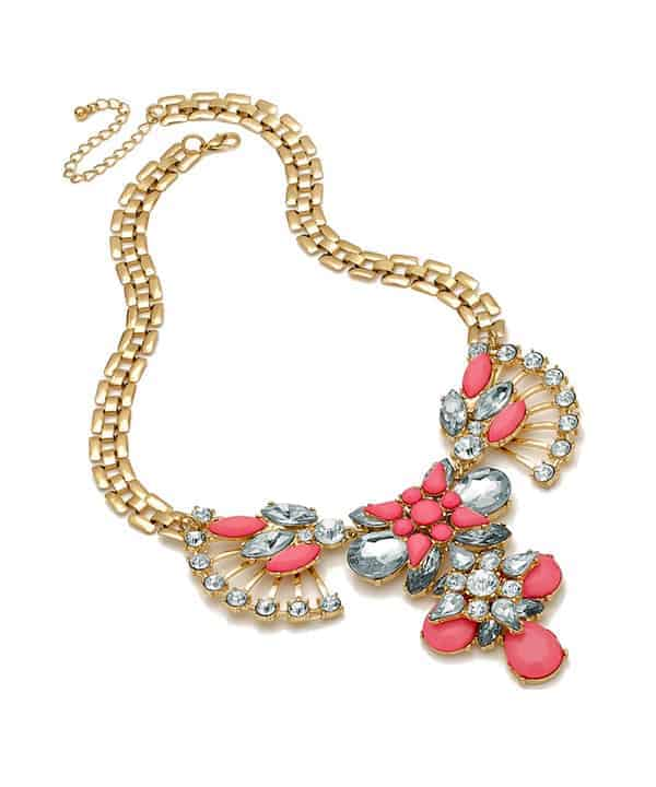 Oriental style pink stones and crystals statement gold choker necklace
