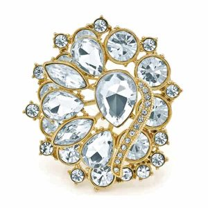 Marquise, pear and round diamante floral design gold pin brooch
