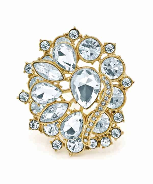 crystal floral design gold plated fashion costume jewellery pin brooch