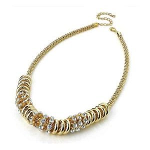 Diamante crystal stone gold disc chain necklace