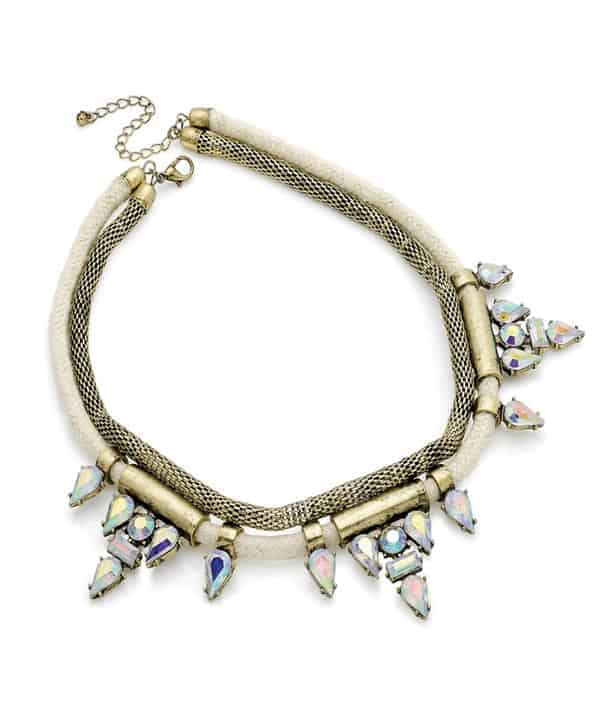 Crystal and cream bead cord with chain choker statement necklace