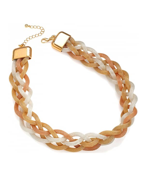 five row rose gold, gold and silver colour plaited woven chain choker necklace