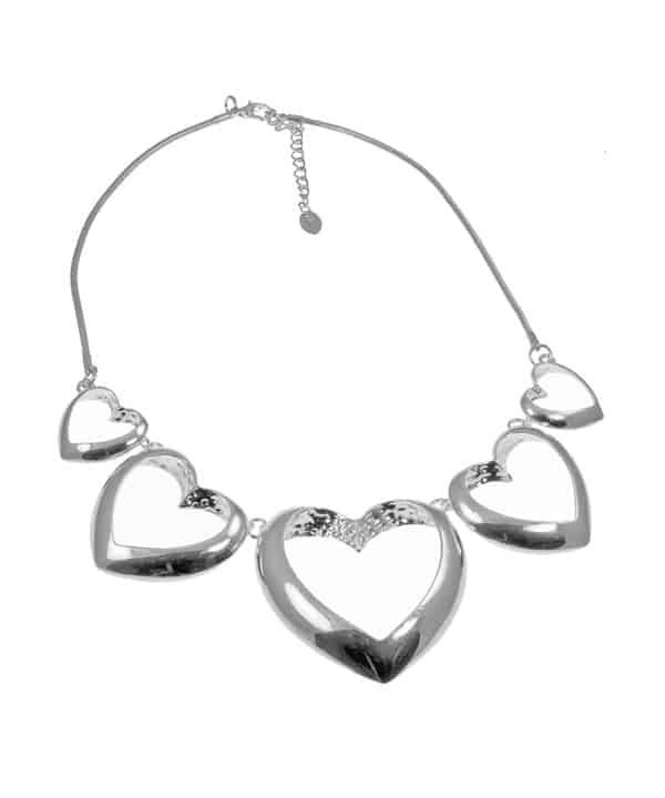Shiny silver plated large graduated linked heart choker statement necklace