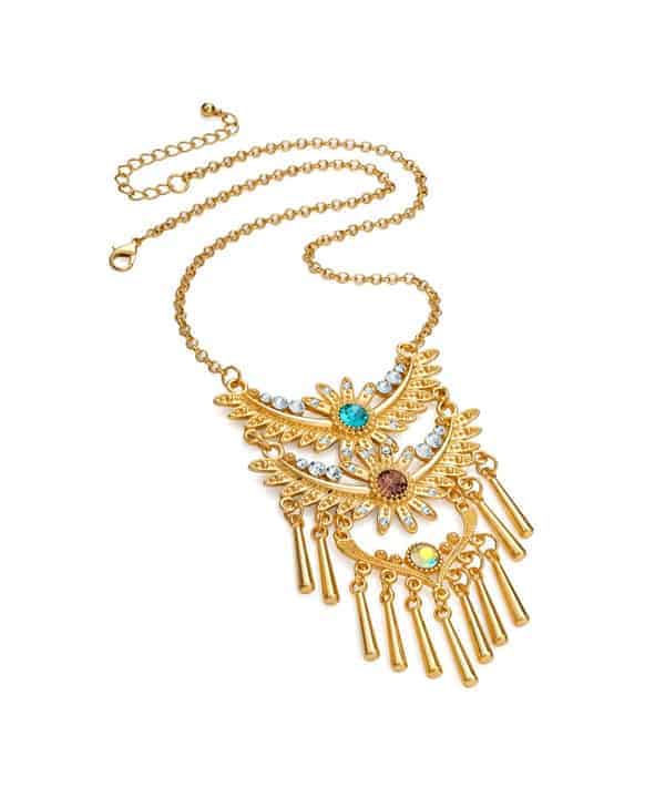 Gold plated tribal style crystal, lilac and aqua crystal chain charm necklace