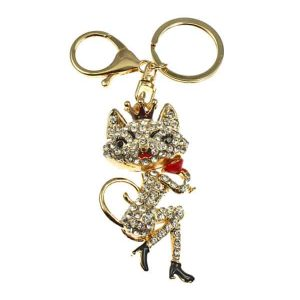 Crystal 3D gold plated stylish quality cat handbag charm or key ring accessory