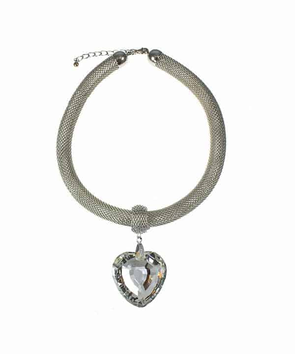 Large chunky heart crystal stone rhodium plated mesh chain choker necklace