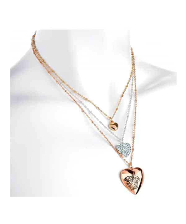 Gold silver and rose gold colour crystal heart design chain choker necklace