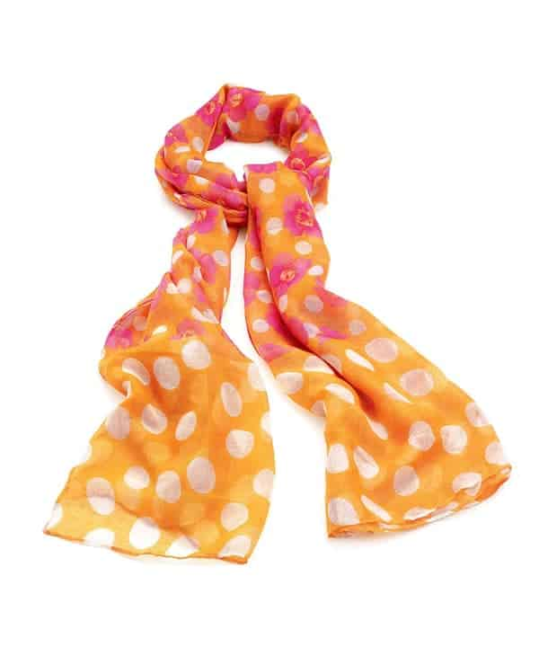 Orange white and pink colour flower including spot print fashion scarf