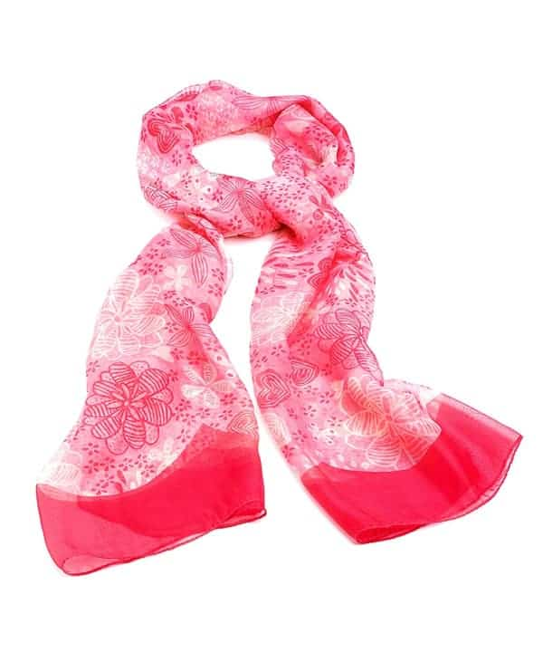 Pink white and bright pink colour flower print fashion scarf
