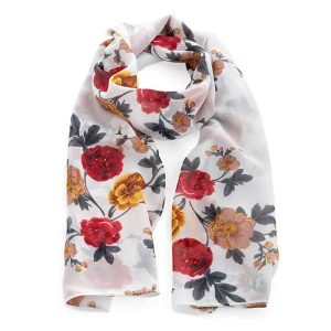 Red, yellow and white colour flower with leaf print fashion scarf