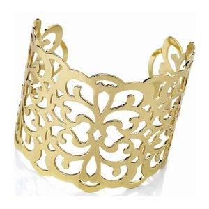 Women's unique costume filigree design large cut out gold plated fashion jewellery 5.5cm wide cuff bangle