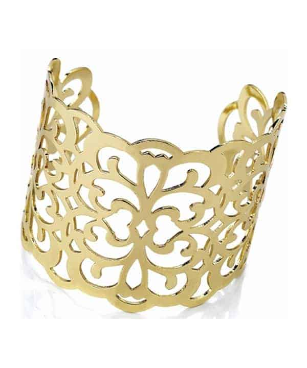 Filigree design large cut out gold plated wide cuff bangle
