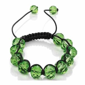 Women's peridot green translucent colour 14mm wide faceted glass bead stone design bracelet with black adjustable cord fashion jewellery