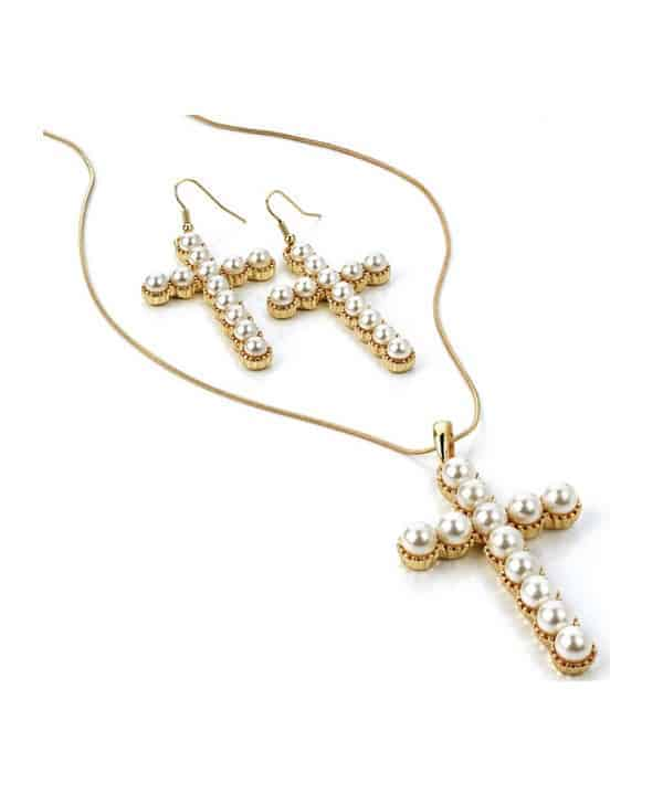 Long-chain necklace set with imitation faux cream pearl cross pendant necklace