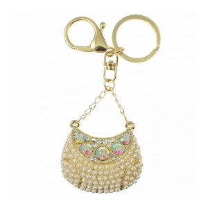 Faux pearl, crystal 3D gold stylish handbag charm or key ring costume jewellery