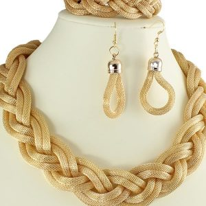 Women's gold plated bracelet, earring and necklace woven plaited fashion jewellery set
