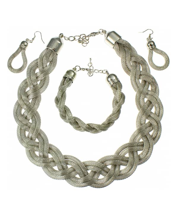 Silver plated bracelet earring and necklace woven braided fashion jewellery set