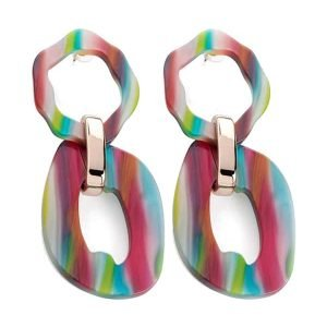 Funky large rainbow colour long stud earrings stunning fashion jewellery design