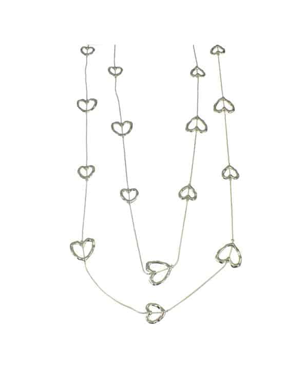 Beautiful silver colour fashion jewellery love heart charm double chain long necklace