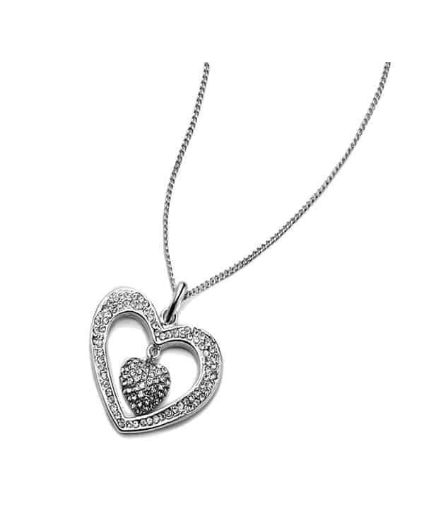 Silver plated women's heart dangling cubic zirconia valentines necklace