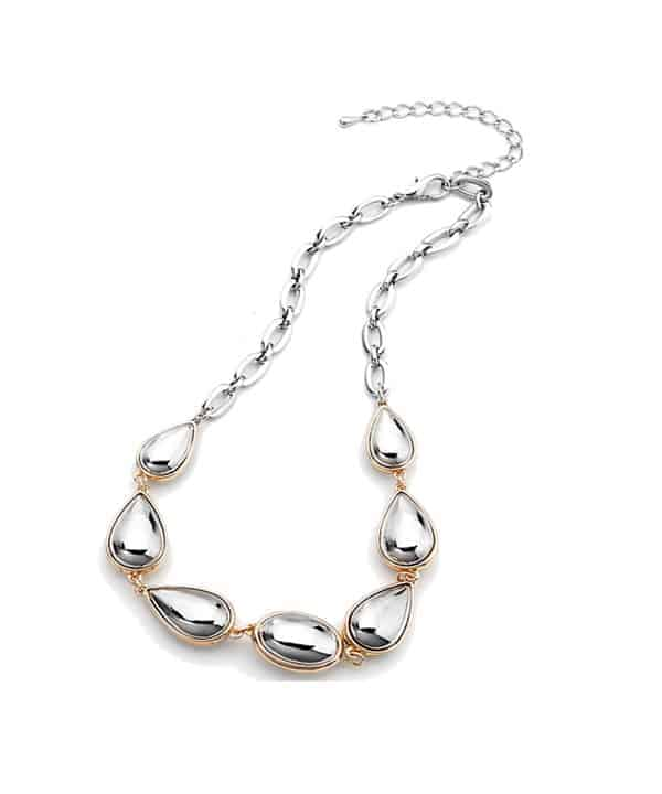 Solid gold and rhodium plated costume choker necklace