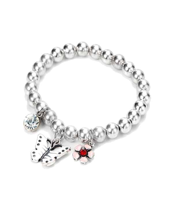Butterfly flower and crystal pendant ball bead silver charm bracelet