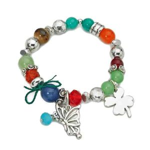 Natural stone beads, glass beads, metal charms stretchy bracelet