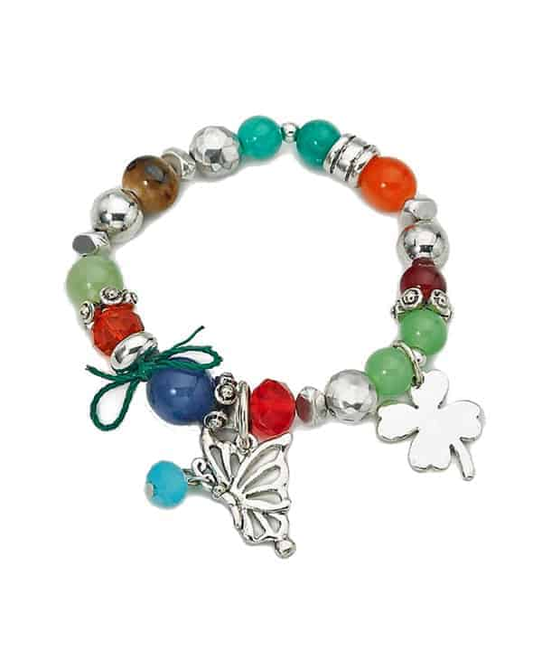 Antique silver finish, natural stone beads, glass beads and metal charms stretchy bracelet