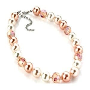 Wonderful pearl peach tone with crystal stone necklace