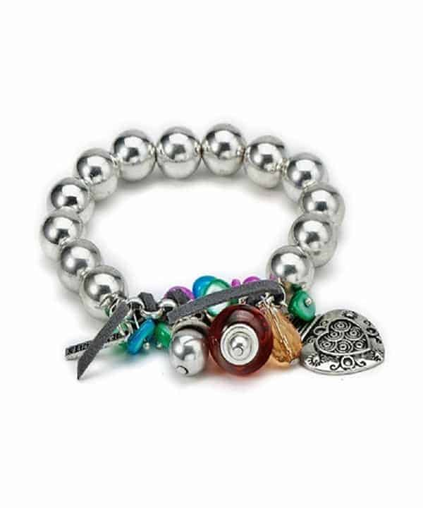 Beaded elasticated bracelet with colourful beads, leather, charms, heart pendant and shells