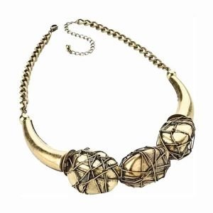 Burnished gold style wire ball choker necklace